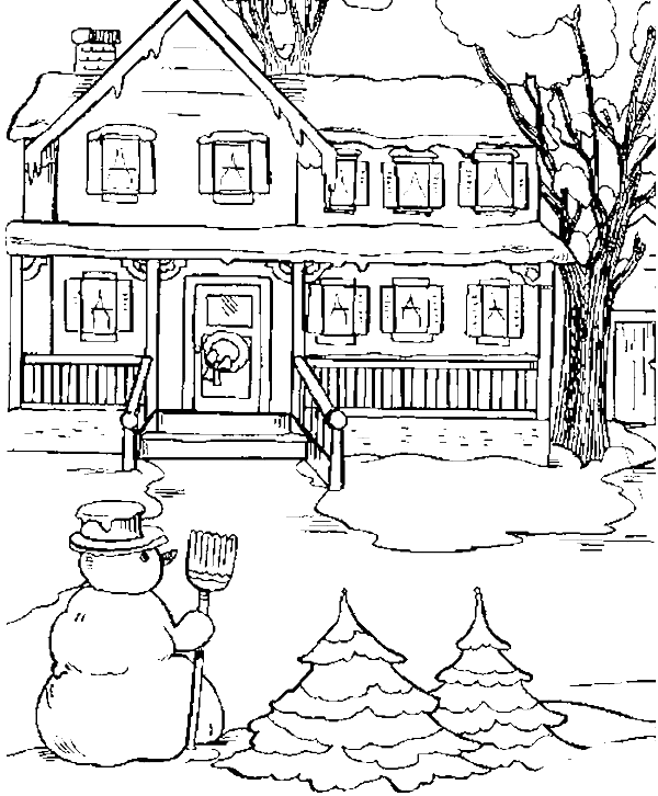 The State House In Snow Day Coloring Pages Winter