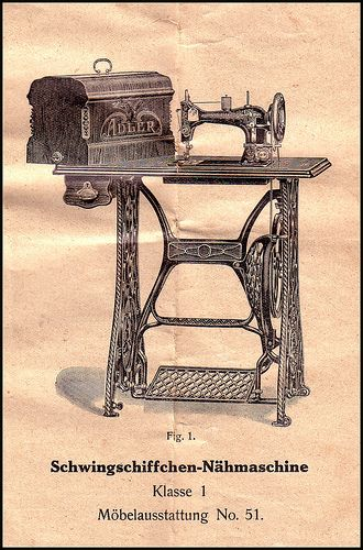 Vintage Sewing Machine advertisment, German.    I wanna learn how to sew with an actual machine.