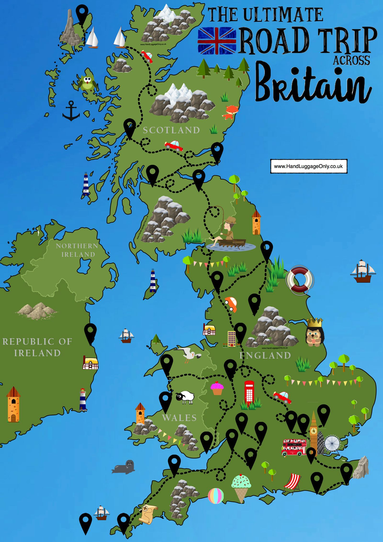 Map Of Uk And Scotland.The Ultimate Road Trip Map Of 26 Places To See Across Great Britain