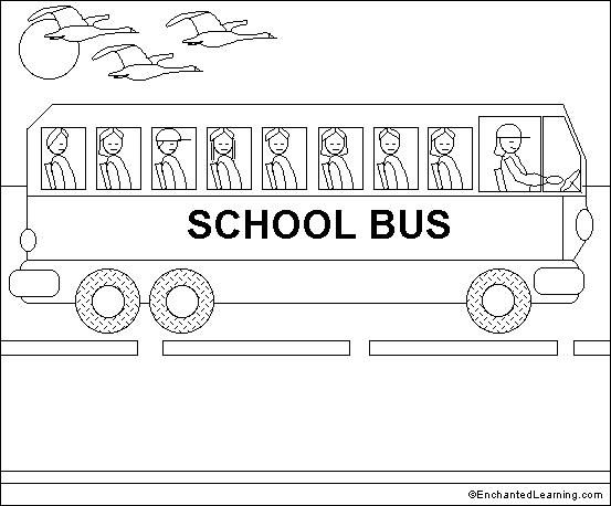 School Bus Online Coloring Page Enchantedlearning Com Online