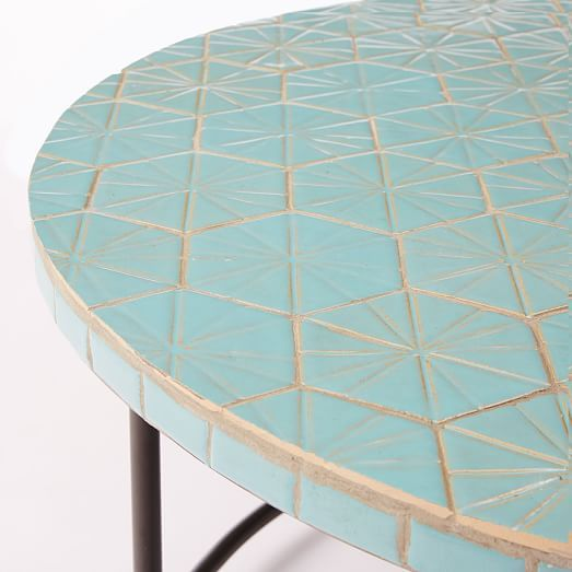 Mosaic Tiled Coffee Table Blue Spider Web Top West Elm