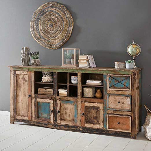 Affiliatelink Sideboard Vintage Holz Bunt Massiv Bemalt Lackiert