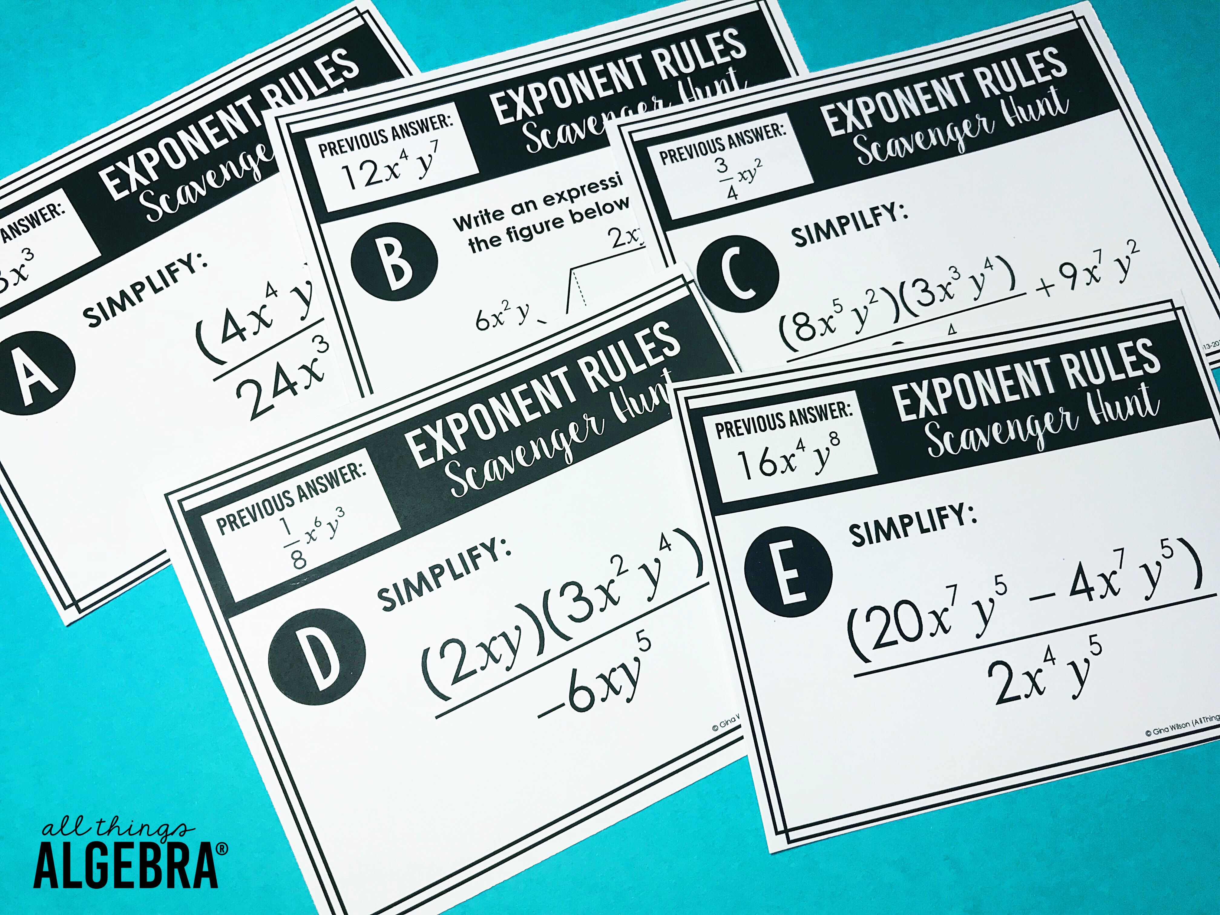 Ideas For Teaching Exponent Rules