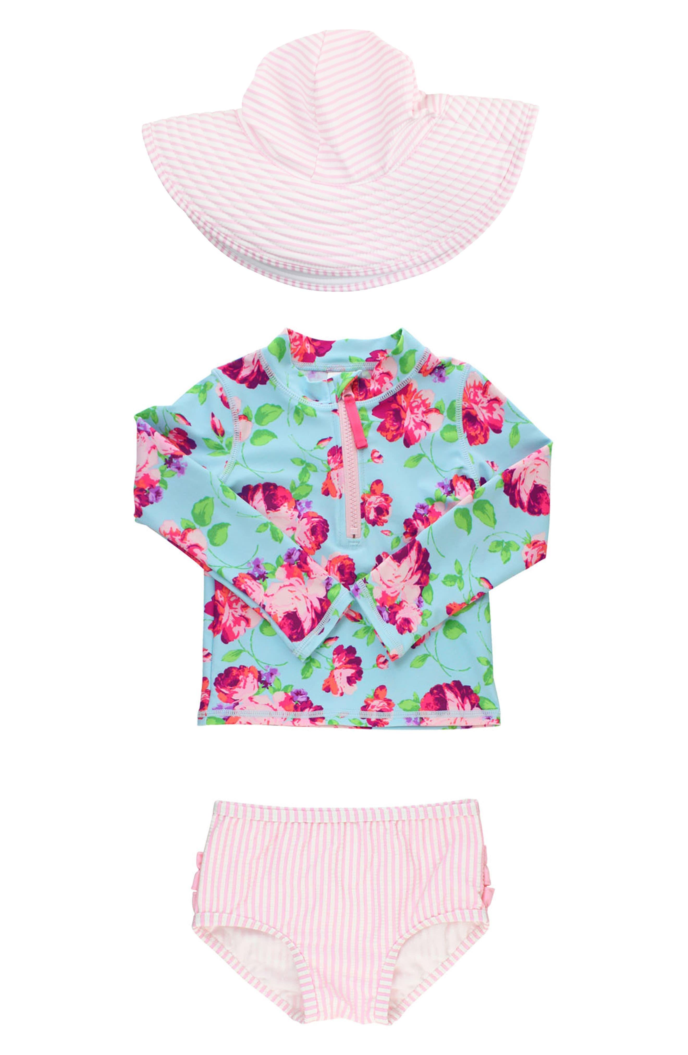 RuffleButts Girls Rash Guard Short Sleeve 2-Piece Swimsuit Set Polka Dot Bikini with UPF 50 Sun Protection