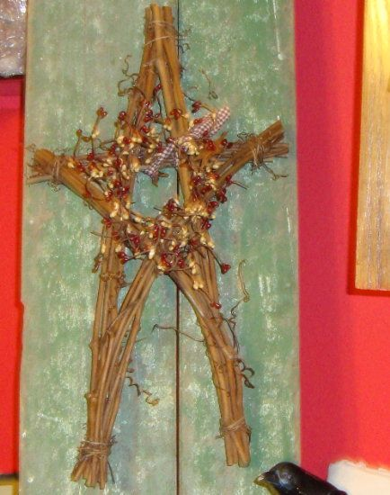 Oblong Twig Star with Berries and Tin Stars-Twig Star,Berries Twig ...