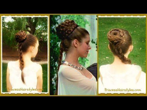 Princess Leia Hairstyle Spiral Braid Bun Star Wars Inspired Hairstyles For Girls Princess Hairstyle Princess Leia Hair Star Wars Hair Princess Hairstyles