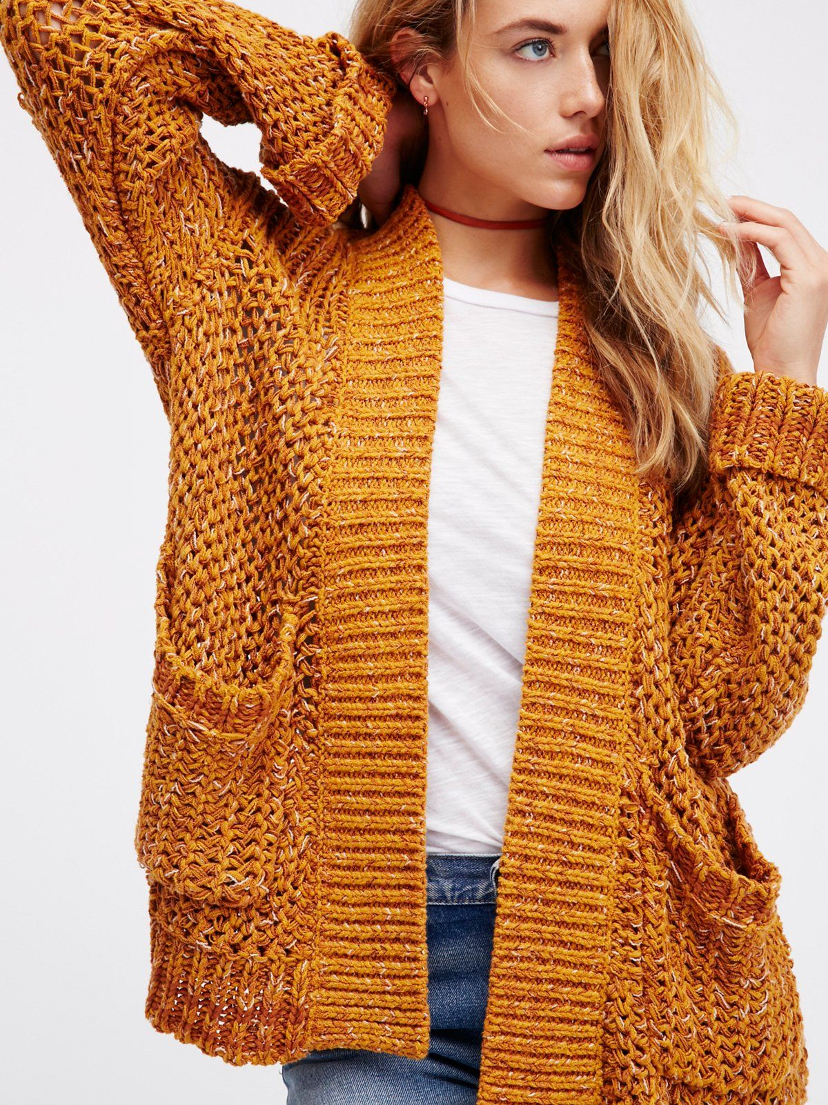 Dupree Cardi | Marled chunky cardigan sweater featuring front slip ...