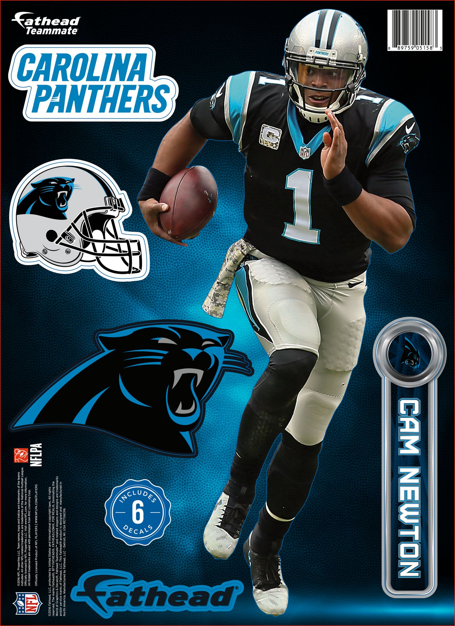 save off 27dea e5f3a Fathead Carolina Panthers Cam Newton Teammate Player Wall ...