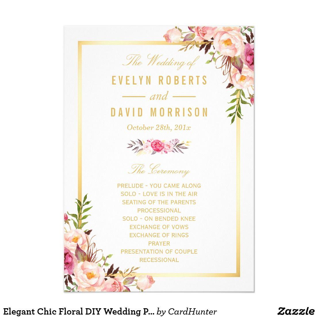 Elegant chic floral diy wedding program fans front diy wedding