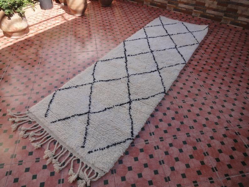 Beni Ourain Carpet Handmade Oriental Rug Hallway Etsy Tapis D