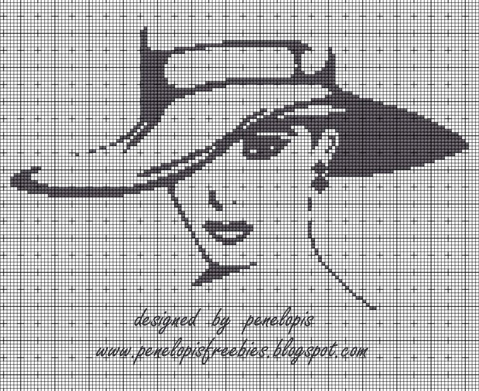 Penelopis\' cross stitch freebies: Kobieta w kapeluszu/ Lady in the ...
