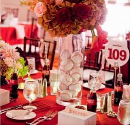 Football Themed Wedding Centerpieces Baseball Reception Centerpiece Idea