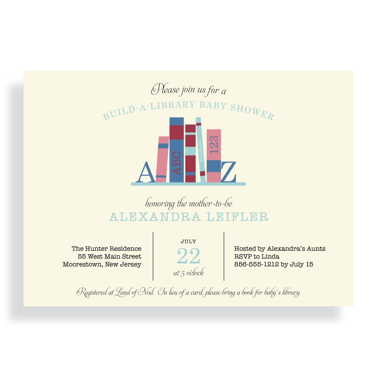 Bring Baby a Book Baby Shower Invitation | Build-A-Library| Book ...