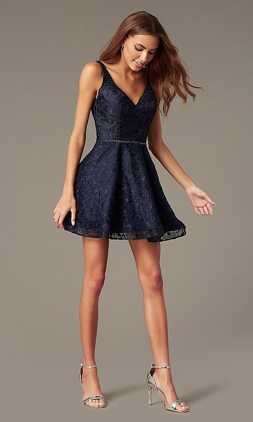 Short Navy Lace Fit-and-Flare Homecoming Dress