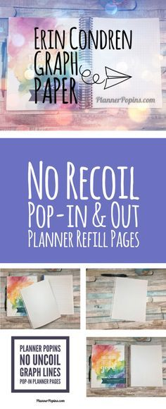 no recoil graph paper for erin condren planners pop in and out