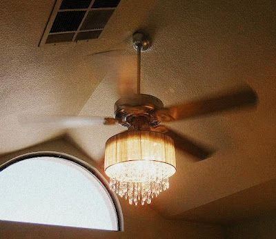 Addicted To House Redressing And Other Musings Why Not A Chandelier And A Fan Together It Could Be Ceiling Fan Chandelier Chandelier Fan Ceiling Fan Makeover