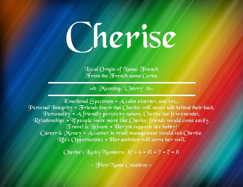 Cherise Names With Meaning Names First Names