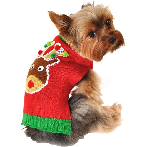 Simply Dog Reindeer Dog Sweater Red Multiple Sizes Available