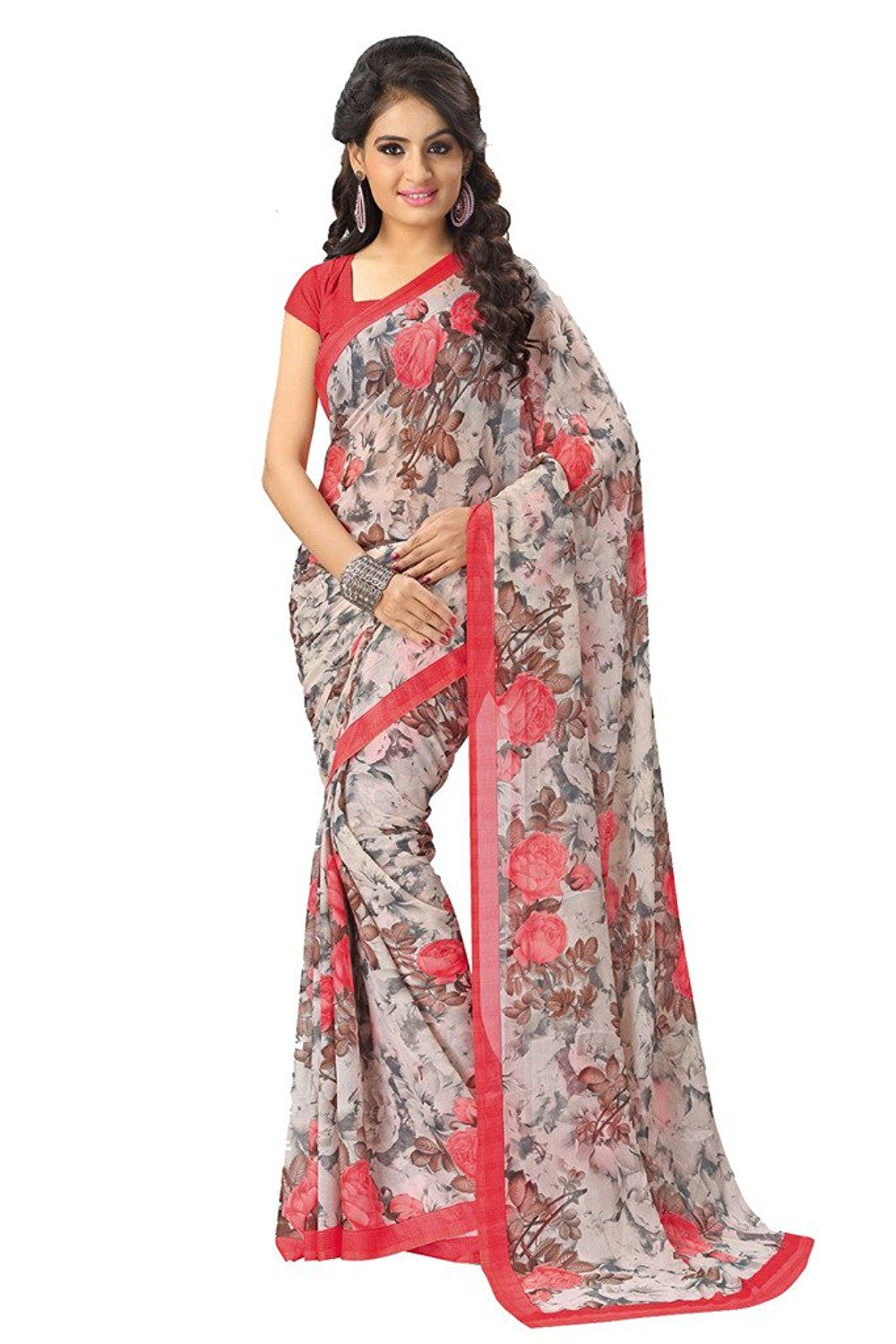 34c27d97d4 Vaamsi Chiffon Saree (Rc3140_Pink): Amazon.in: Clothing & Accessories