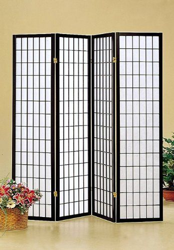 Japanese Style 4 Panel Black Framed Room Screen Divider By Coaster Home Furnishings 47 97 Dimensio Shoji Screen Room Divider Room Divider Screen Room Screen