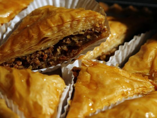 Baklava will be among the 40,000 pieces of pastry that will sold at the Greek Festival at Holy Trinity Greek Orthodox Church. (Photo: The News Journal/JENNIFER CORBET)
