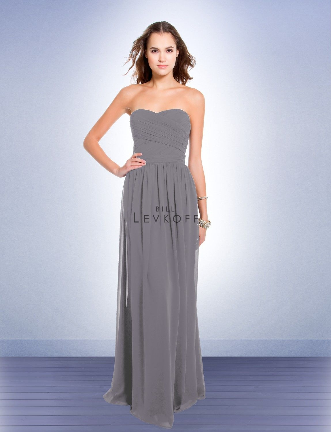 c80a2816832 Bill Levkoff in Pewter - Bridesmaid Dress Style 193