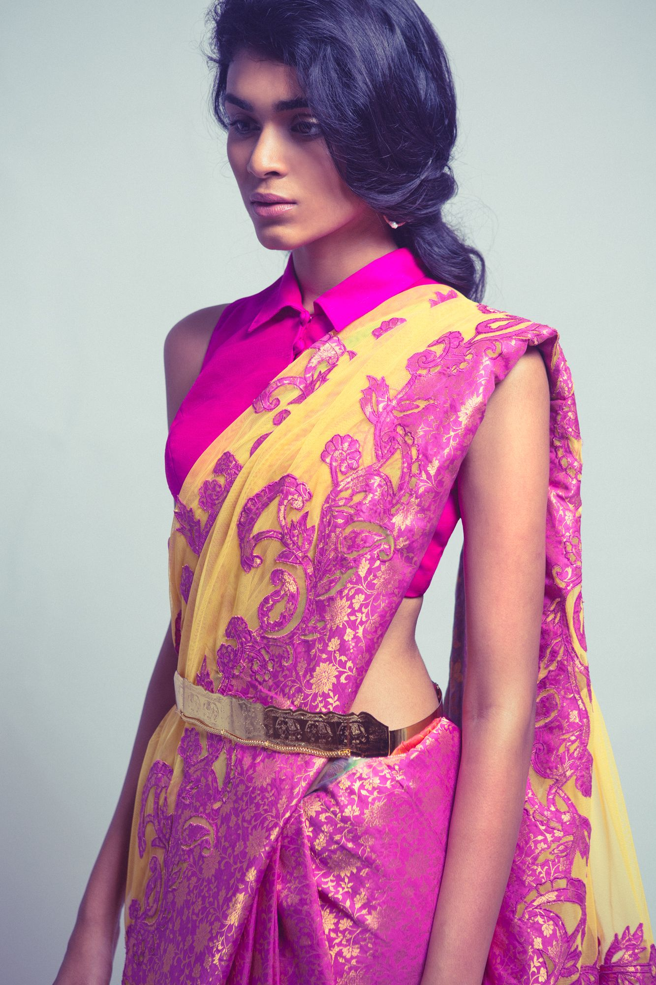 Pink and yellow saree - Love how the blouse is designed! [Neeta ...