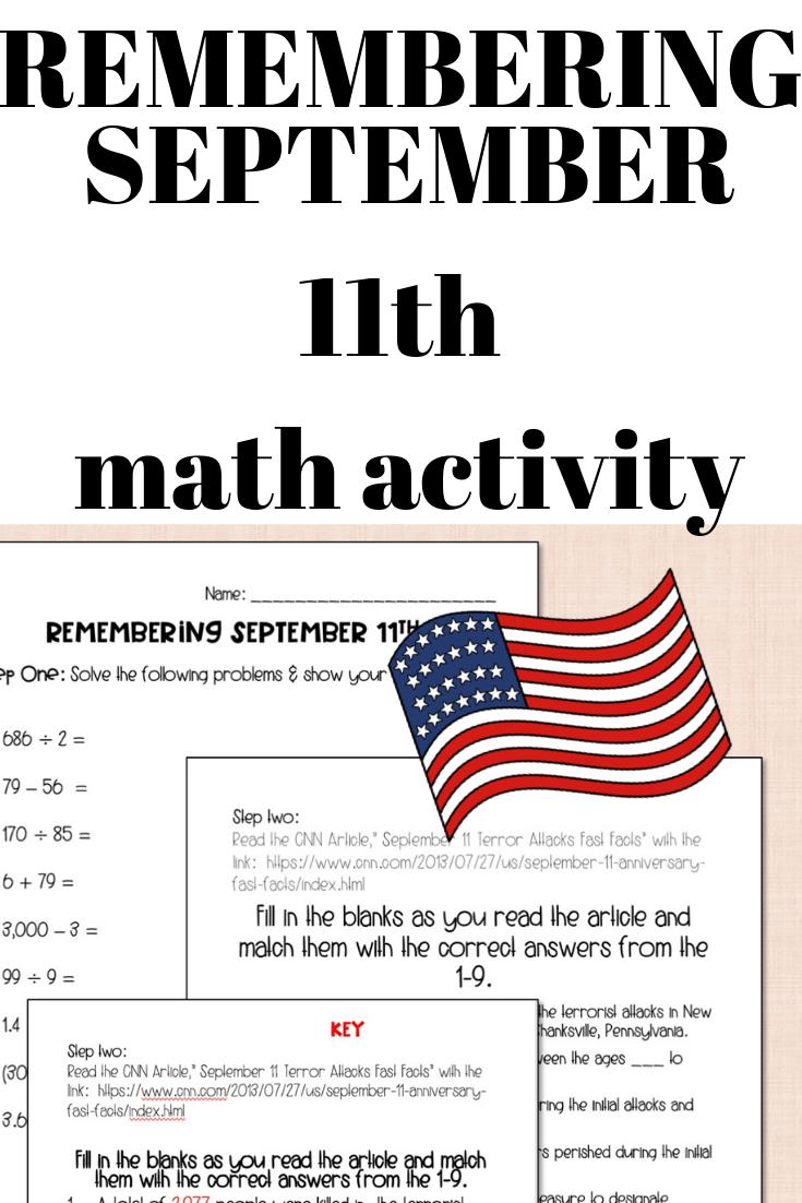 Remembering 9 11 Math Activity Math Activities Maths Activities Middle School Math [ 1102 x 735 Pixel ]