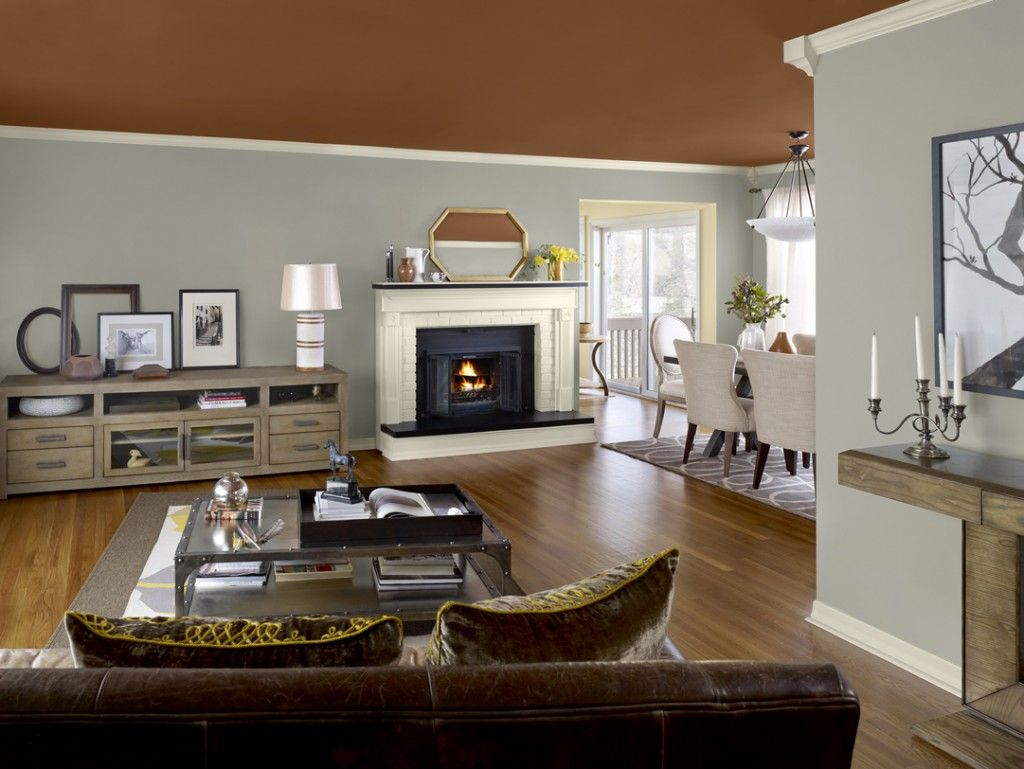 Amazing Open Space Brown Grey Color Combination Home Interior Trends 2014