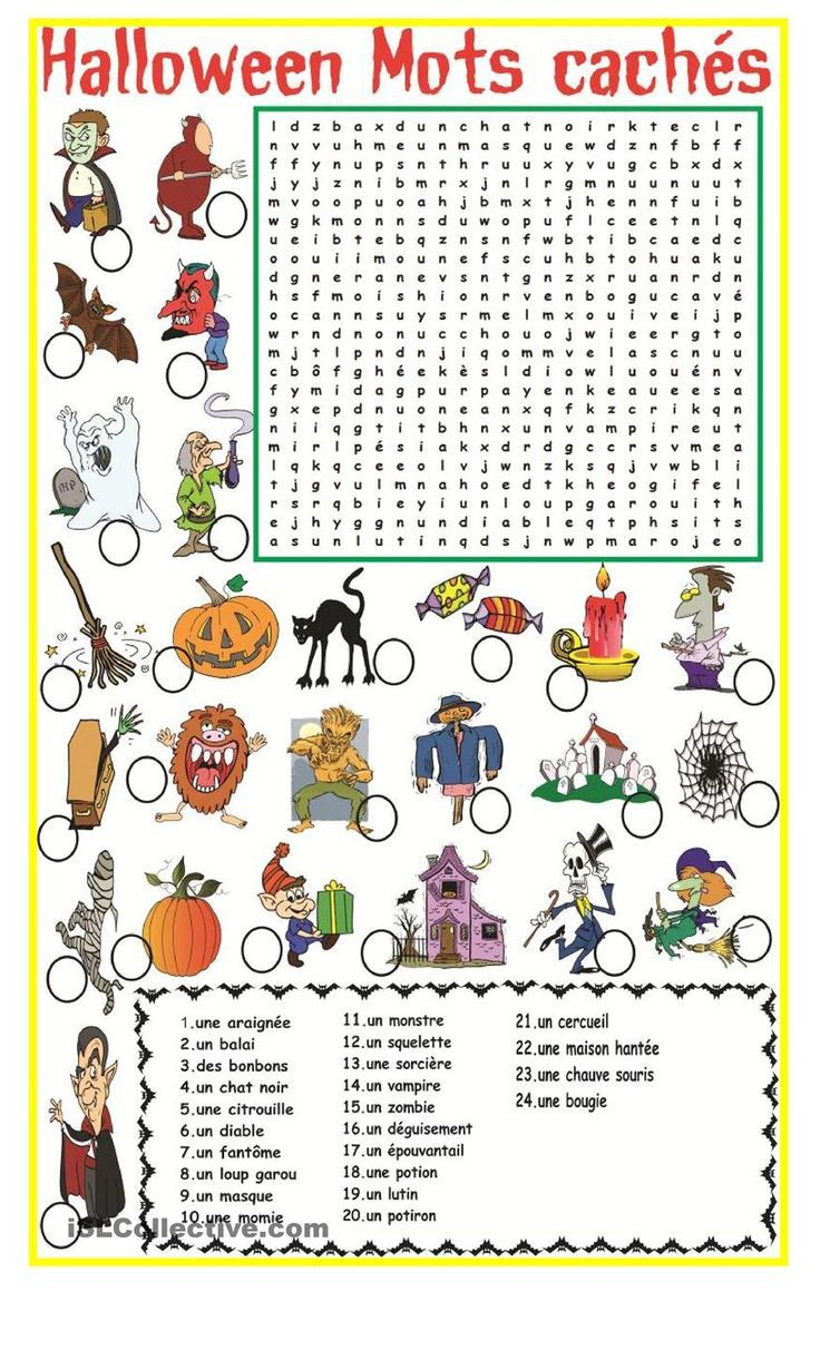 halloween mots cach s fle halloween worksheets french worksheets halloween activities. Black Bedroom Furniture Sets. Home Design Ideas
