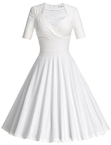 Women s Cocktail Dresses - MUXXN Womens 50s Vintage Short Sleeve Pleated  Swing Dress   Learn more by visiting the image link. 03d3e9143703
