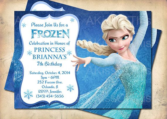 Frozen Birthday Invitation Princess Elsa Frozen By AKissOfThis - Birthday invitation frozen theme