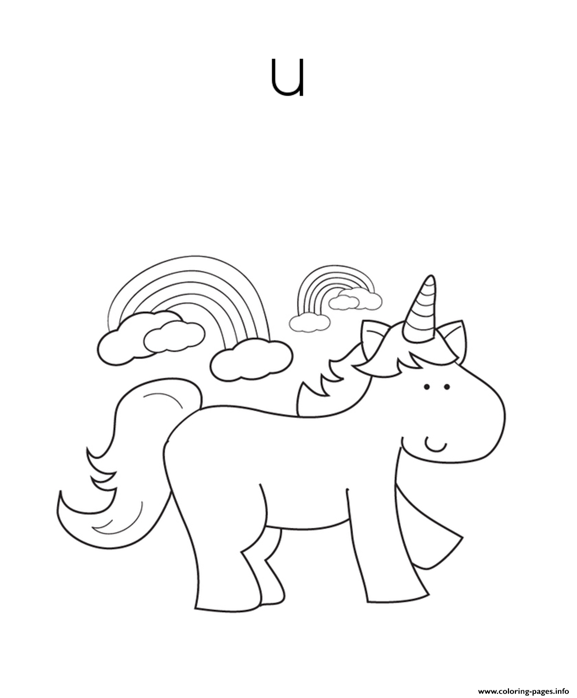 Print cute unicorn alphabet s freece coloring pages coloring