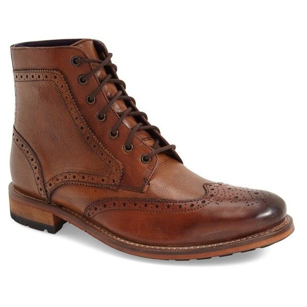 Ted Baker London 'Sealls 3' Wingtip Boot (2,485 EGP) ❤ liked on Polyvore  featuring men's fashion, men's shoes, men's boots, tan leather, mens tan  boots, ...