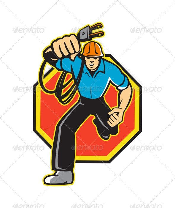 Electrician Worker Running Electrical Plug