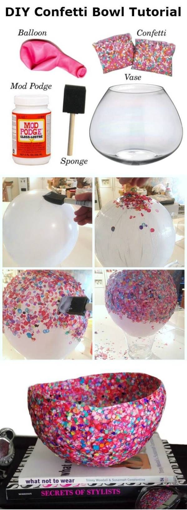deko schale aus konfetti machen diy bastelideen mit luftballons crafts pinterest. Black Bedroom Furniture Sets. Home Design Ideas