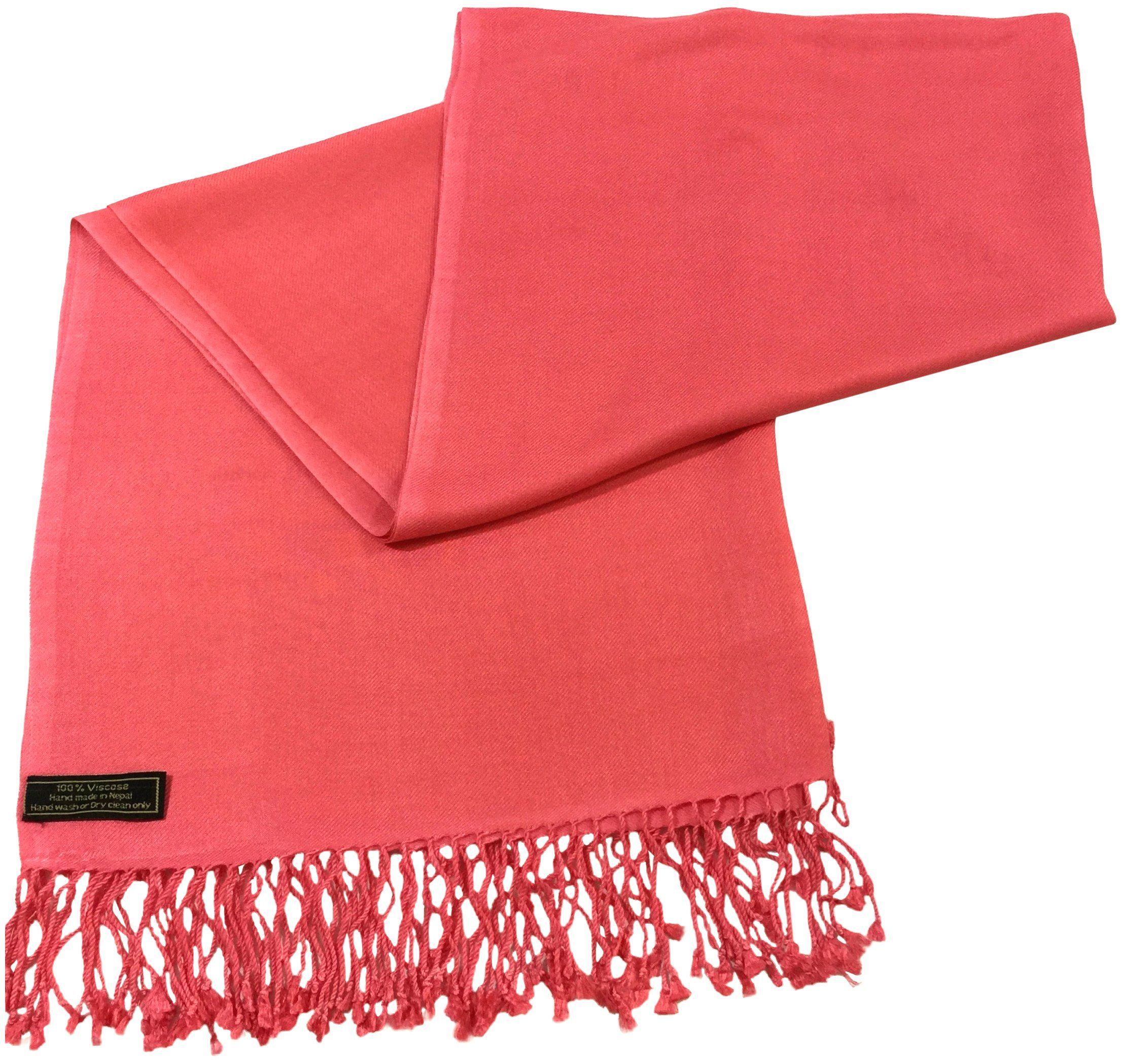 Coral pink solid color design nepalese shawl pashmina scarf wrap cj