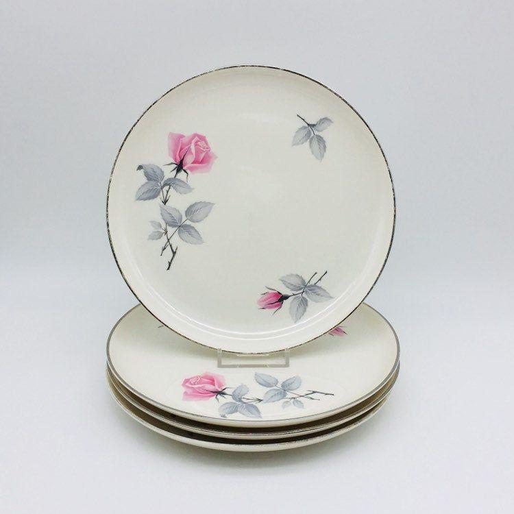 """Syracuse China """"Bridal Rose"""" Salad Plates, Set Of 4 Pink"""
