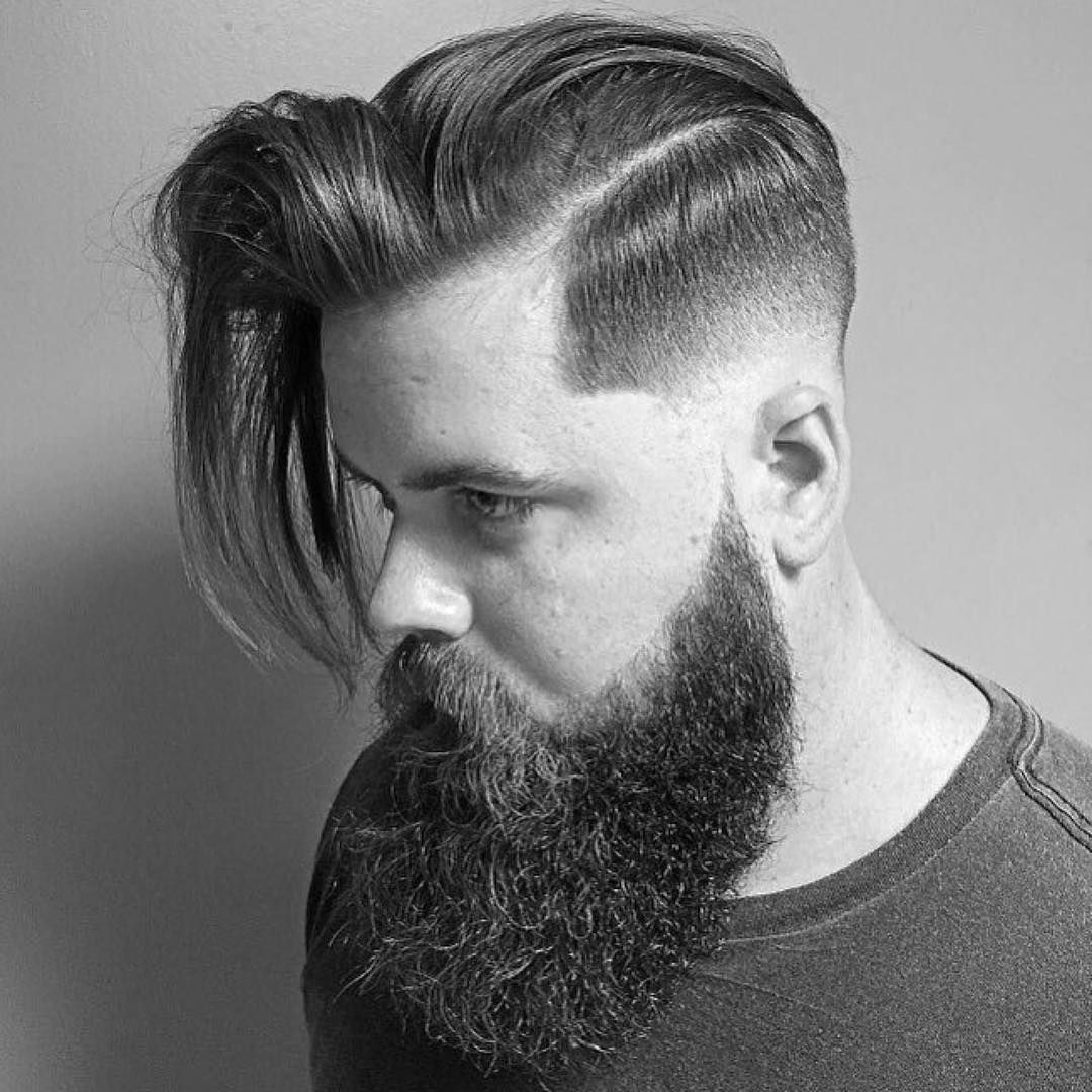 Short haircuts for men with beards cool  dashing short on sides long on top haircuts  be creative