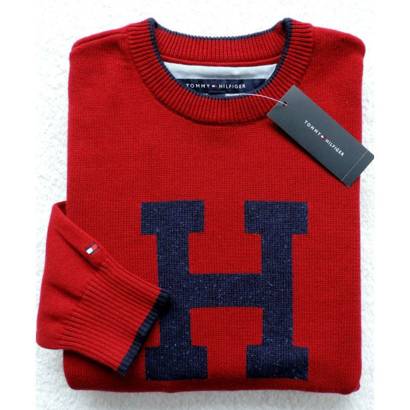 New Tommy Hilfiger Mens Crewneck H Sweater Red Size M Xl