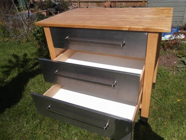 Ikea varde kitchen unit with 3 stainless steel drawers for for Kitchen drawer units for sale