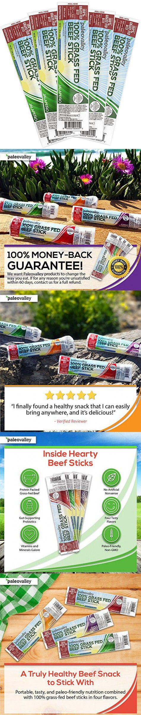 Beef Sticks Paleovalley 100 Grass Fed Beef Sticks 10 Count Jalapeno Flavor 100 Grass Fed Finished Beef Paleo Friendly Non Gmo Gluten And Soy Fre Grass Fed Beef Beef Sticks Paleo Friendly