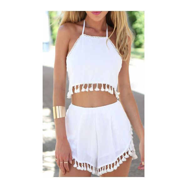 Two Pieces White Halter Neck Loose Shorts (u20ac18) liked on Polyvore featuring outfits romper ...