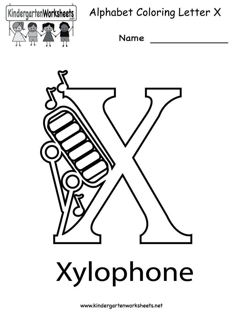 Kindergarten Letter X Coloring Worksheet Printable | Alphabet ...