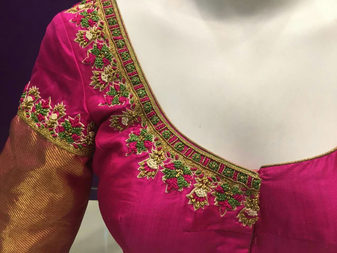 Pin By Almeena On Embroidery N Aari Work In 2019 Blouse Designs