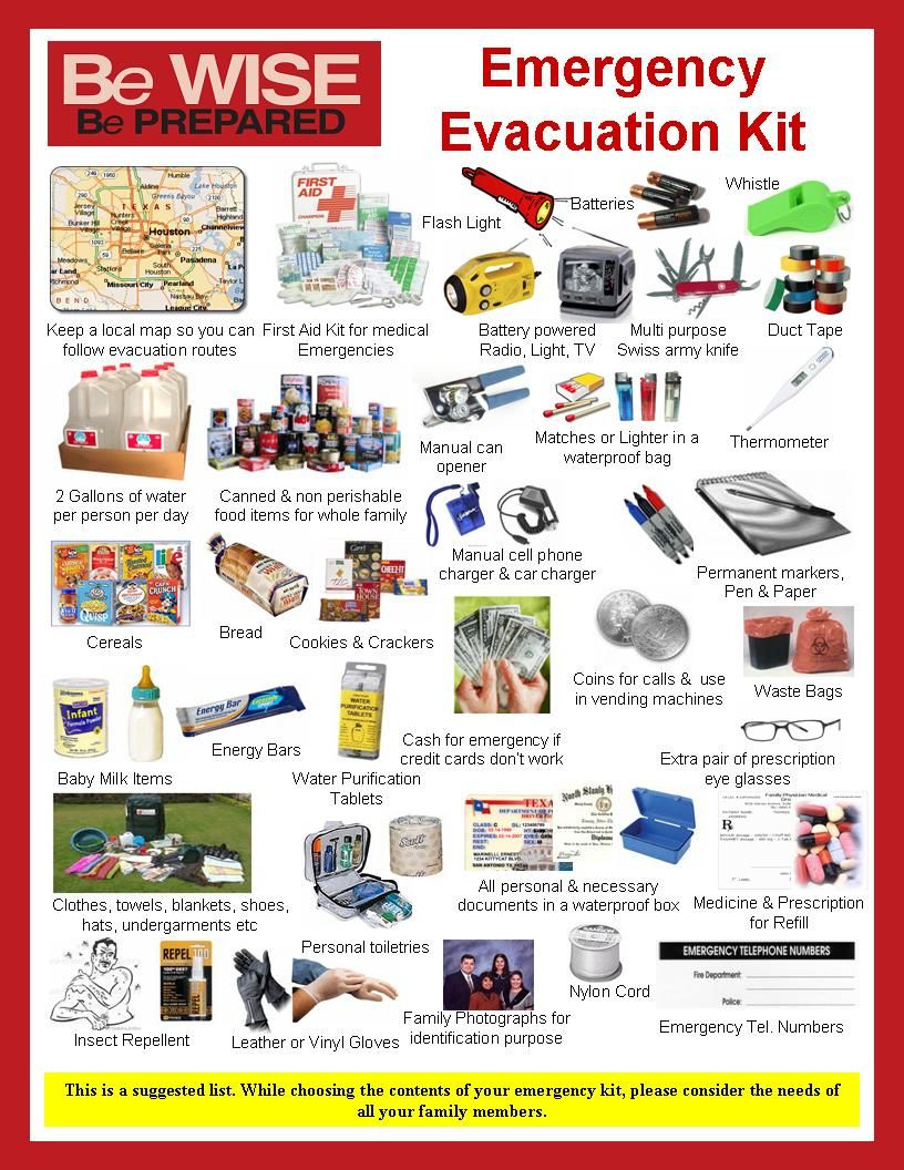 Emergency Evacuation Kit I Am Going To Put This In Our Camp Trailer