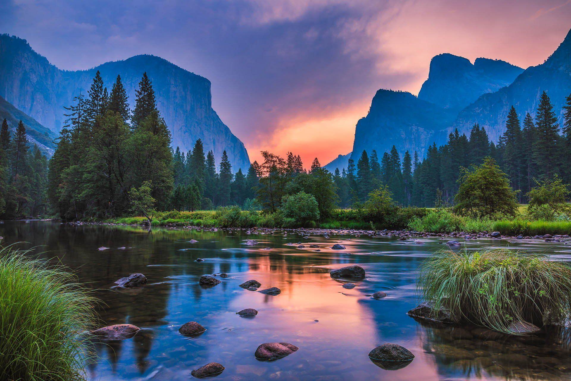 landscape nature sunset mountains