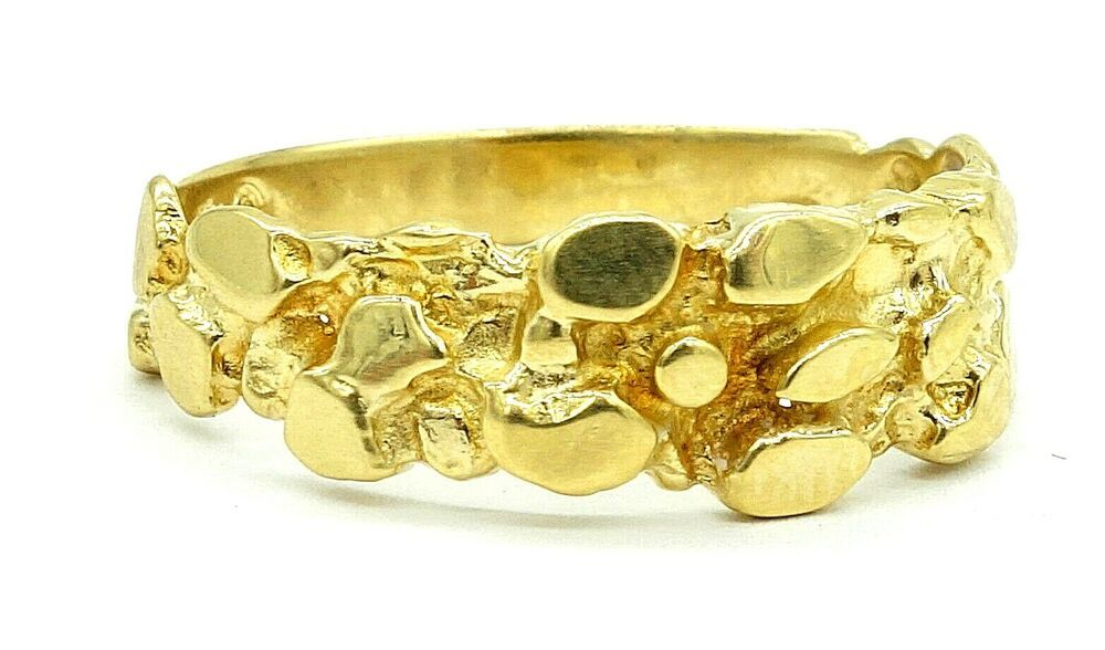 10k Solid Gold Nugget Ring 2 9 Grams 6mm Width Band Size 10 5 10kt 417 Band Gold Nugget Ring Gold Nugget Gold