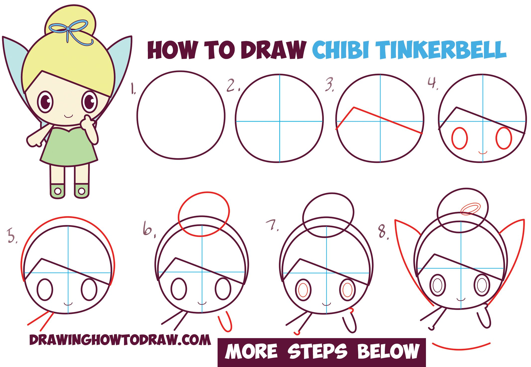 How to draw chibi tinkerbell the disney fairy in easy for How to draw something step by step