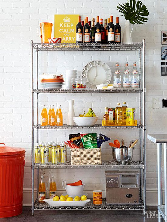 Metal Kitchen Shelf Remodel Cost Calculator Ideas To Steal For Your Apartment Apartments Condos And Especially When Decorating Options Are Limited By Rental Rules Landlord Laws Employ An Industrial Shelving Unit As Extra Storage